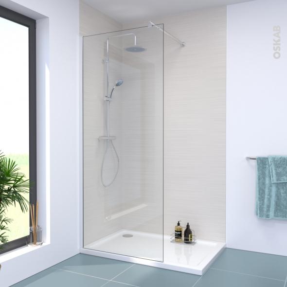 Paroi de douche à l'italienne - 90 cm - Verre transparent 8 mm - 1 barre de fixation - profilés chromés - ATLAS 2