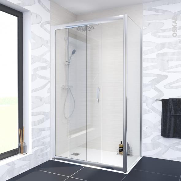 Porte de douche coulissante olympe 140 cm verre transparent oskab - Porte coulissante 140 cm ...