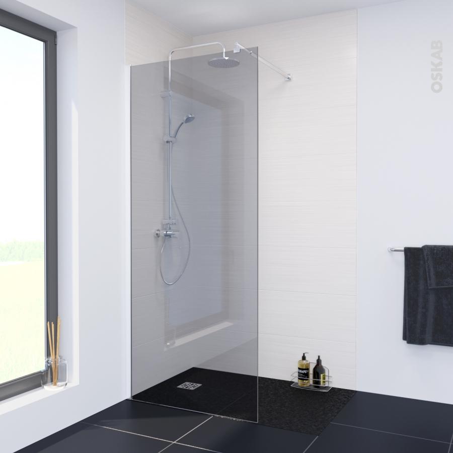 paroi de douche l 39 italienne atlas 90 cm verre fum 8 mm oskab. Black Bedroom Furniture Sets. Home Design Ideas