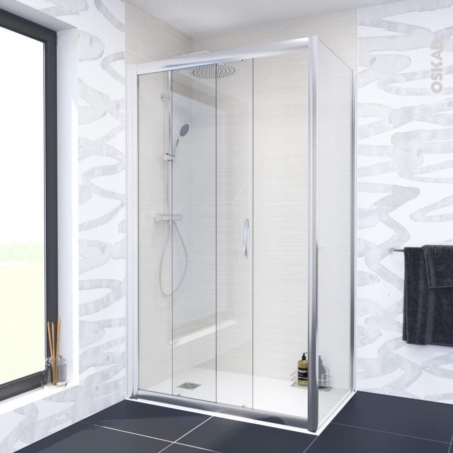 Porte de douche coulissante olympe 120 cm verre transparent oskab - Porte coulissante douche 120 ...