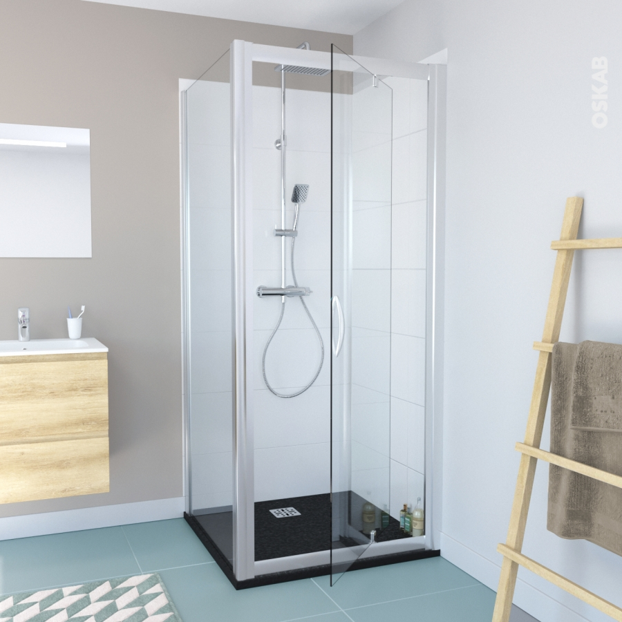 Porte de douche pivotante olympe 90 cm verre transparent for Porte de douche 90