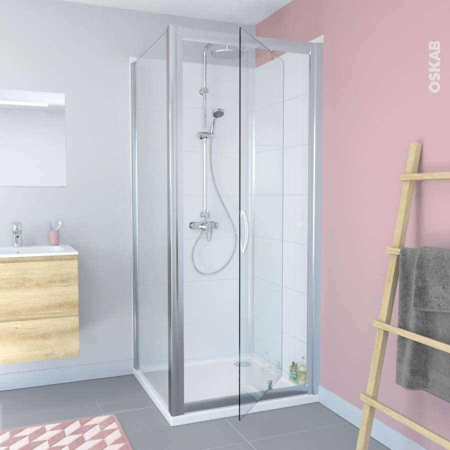 porte de douche pivotante olympe 90 cm verre transparent. Black Bedroom Furniture Sets. Home Design Ideas