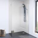 Paroi de douche à l'italienne - 140 cm - Verre transparent 8 mm - 1 barre de fixation - profilés chromés - ATLAS 2