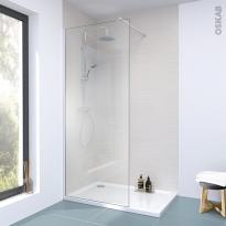 Paroi de douche à l'italienne - 90 cm - Verre transparent 6 mm - 1 barre de fixation - ATLAS 2