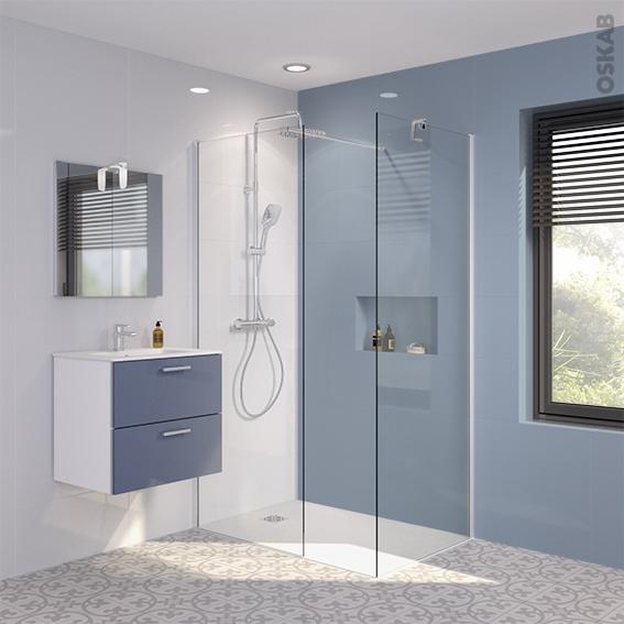 pack douche l 39 italienne paroi 80 cm paroi de retour 80 cm verre transparent 8 mm 2 barres de. Black Bedroom Furniture Sets. Home Design Ideas
