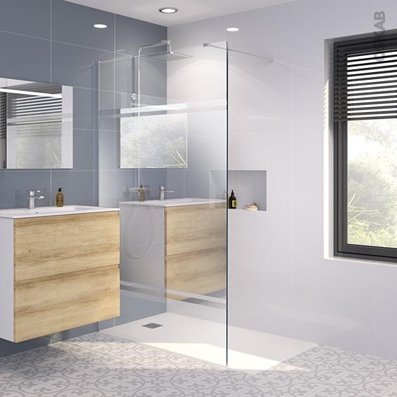 Paroi de douche l 39 italienne 120 cm verre miroir 8 mm 1 for Miroir pour douche