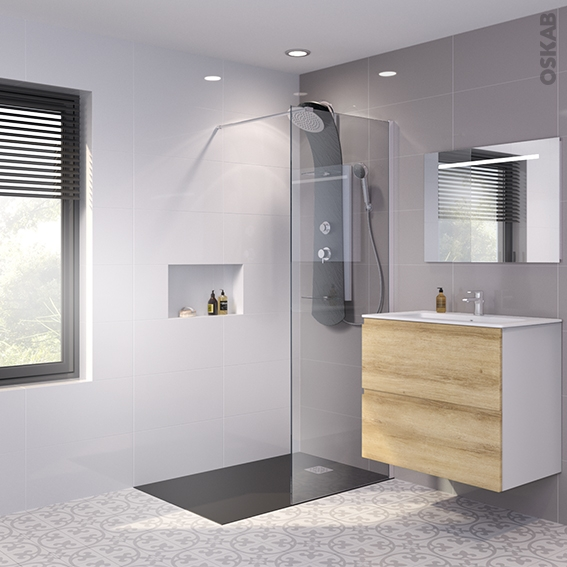 paroi de douche l 39 italienne 80 cm verre fum 8 mm 1. Black Bedroom Furniture Sets. Home Design Ideas