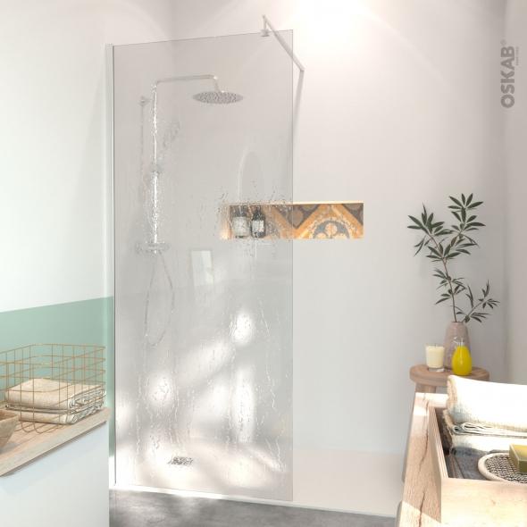 Paroi de douche à l'italienne - 90 cm - Verre transparent 6 mm - 1 barre de fixation - profilés chromés - ATLAS 2