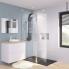 #Paroi de douche à l'italienne - 90 cm + volet - Verre transparent 6 mm - 1 barre de fixation - ATLAS 2