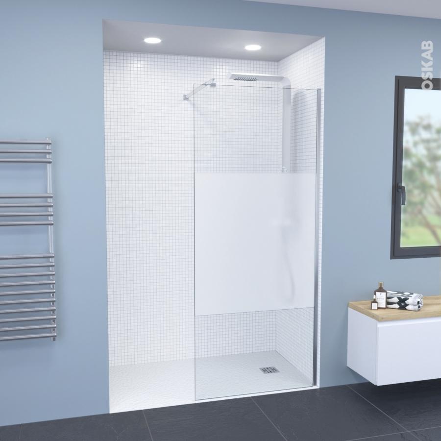 paroi de douche l 39 italienne 90 cm verre d poli 8 mm 1 barre de fixation atlas 2 oskab. Black Bedroom Furniture Sets. Home Design Ideas