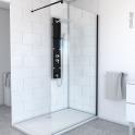 Paroi de douche à l'italienne - 120 cm - Verre transparent 8 mm - 1 barre de fixation - profilés noirs - ATLAS 2