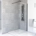 Paroi de douche à l'italienne - 80 cm - Verre transparent 8 mm - 1 barre de fixation - profilés noirs - ATLAS 2