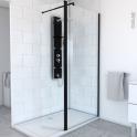 Paroi de douche à l'italienne - 90 cm + volet - Verre transparent 8 mm - 1 barre de fixation - profilés noirs -  ATLAS 2