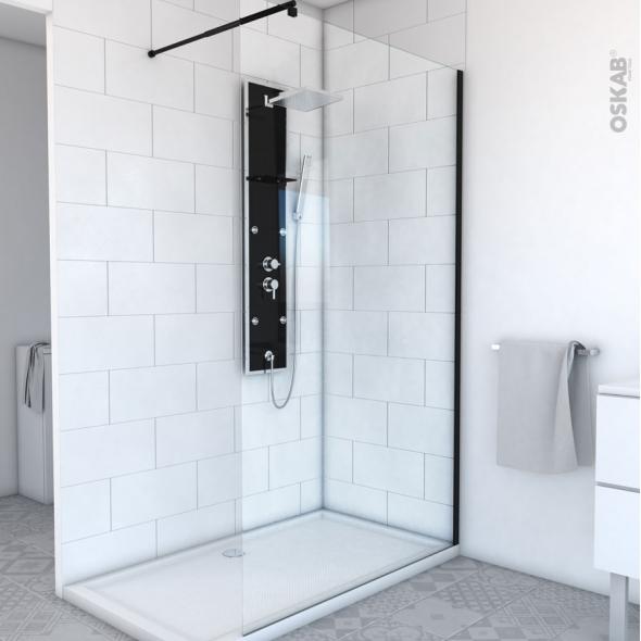 paroi de douche l 39 italienne 120 cm verre transparent 8 mm 1 barre de fixation profil s noirs