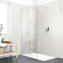 Ensemble receveur BALI - Et paroi de douche ATLAS - Résine blanche 120x80 cm - Verre transparent 6mm L90 cm
