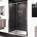 Porte de douche - coulissante HUPPE - 120 cm - Verre transparent - profilés chromés