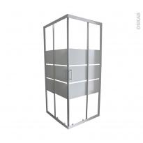 Porte de douche coulissante ELIE - Angle 80x80 cm - Verre sérigraphié