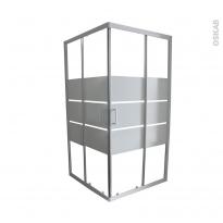 Porte de douche coulissante ELIE - Angle 90x90 cm - Verre sérigraphié
