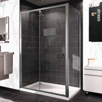 Porte de douche - coulissante HUPPE - 140 cm - Verre transparent - profilés chromés