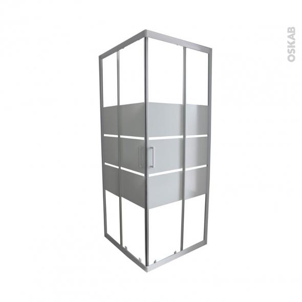 Porte de douche coulissante ELIE - Angle 70x70 cm - Verre sérigraphié