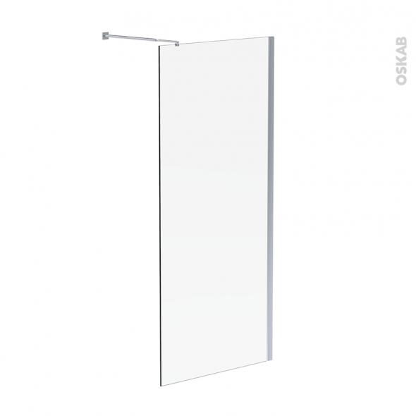 Paroi de douche à l'italienne ATLAS - 90 cm - Verre transparent 6 mm