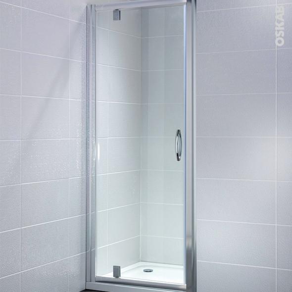 Porte de douche pivotante OLYMPE - 80 cm - Verre transparent