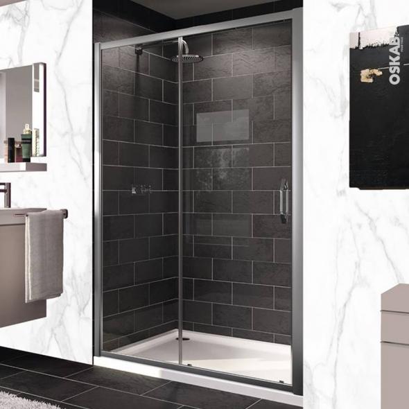porte de douche coulissante huppe 120 cm verre transparent. Black Bedroom Furniture Sets. Home Design Ideas