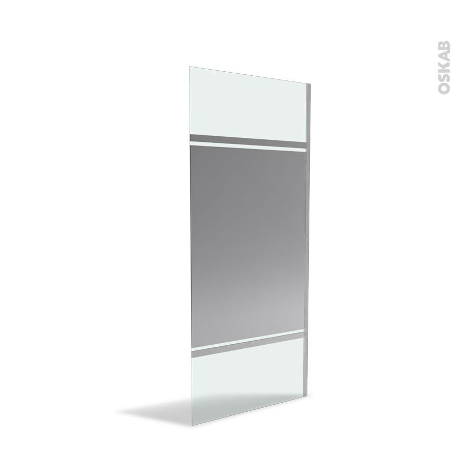 Paroi de douche l 39 italienne 90 cm verre miroir 8 mm for Miroir 5 bandes