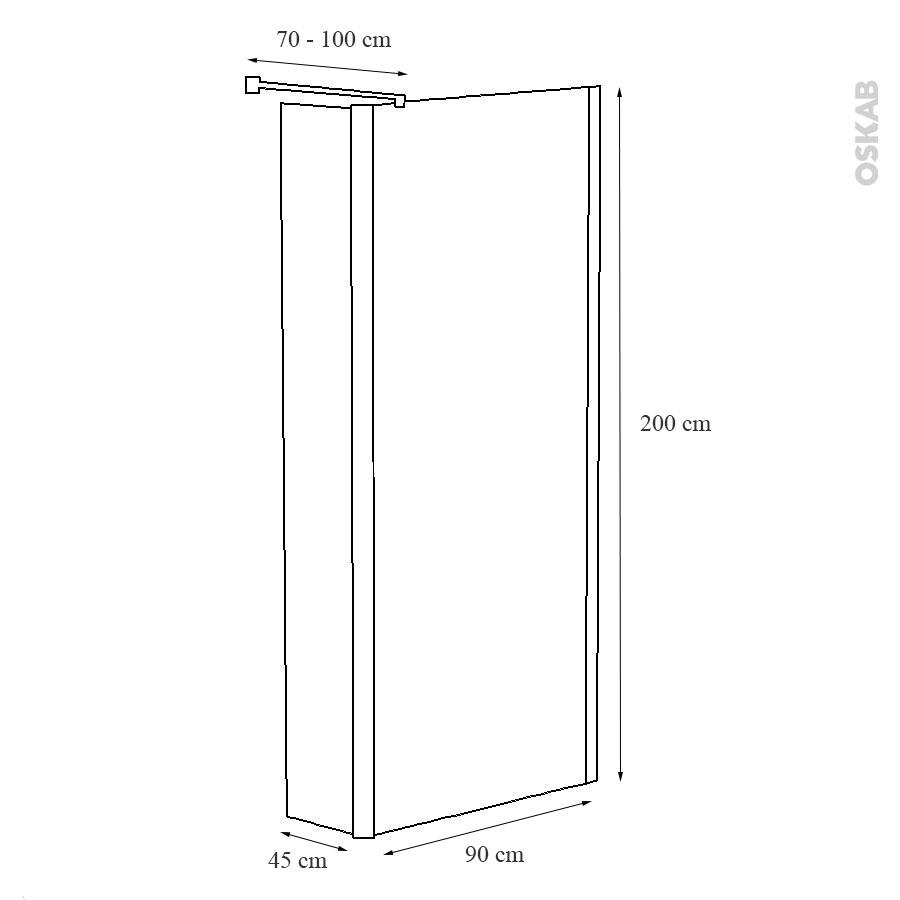 paroi de douche l 39 italienne atlas 90 cm volet pivotant 45 cm verre d poli 6 mm oskab. Black Bedroom Furniture Sets. Home Design Ideas
