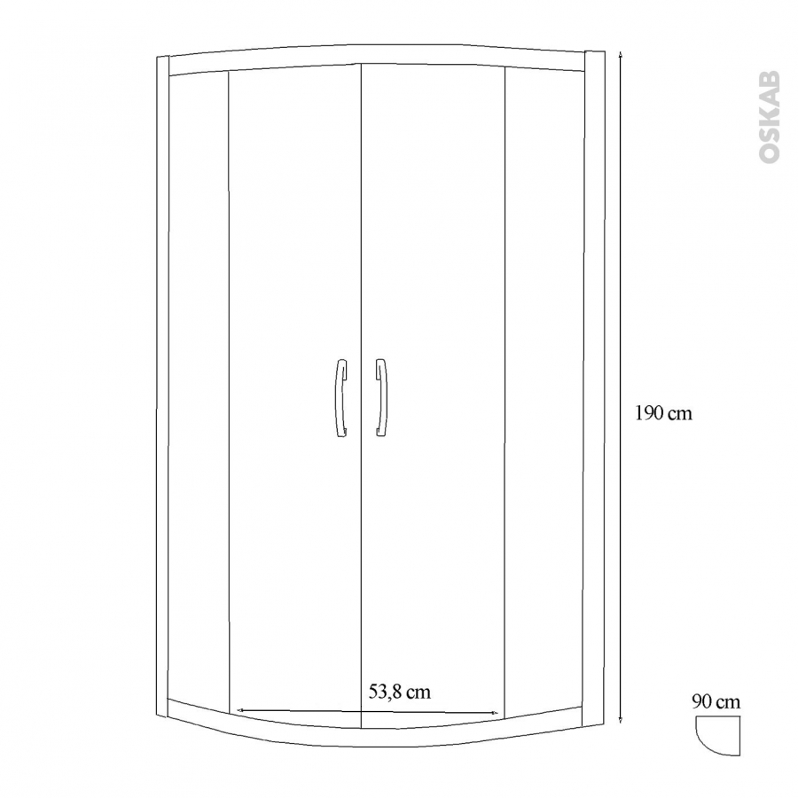 Porte de douche coulissante olympe angle 90x90 cm 1 4 de for Porte douche 90x90