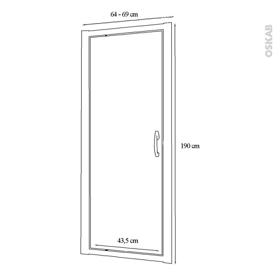 porte de douche pivotante olympe 70 cm verre transparent oskab. Black Bedroom Furniture Sets. Home Design Ideas