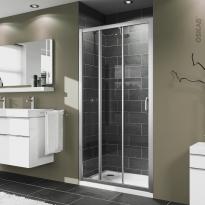 Porte de douche - coulissante 3 volets HUPPE - 80 cm - Verre transparent - profilés chromés