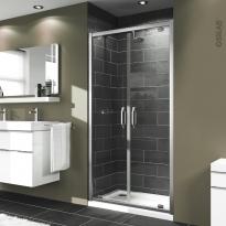 Porte de douche - pivotante 2 volets HUPPE - 80 cm - Verre transparent - profilés chromés