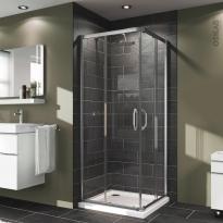 Porte de douche - angle carré coulissant HUPPE - 80x80 cm - Verre transparent - profilés chromés