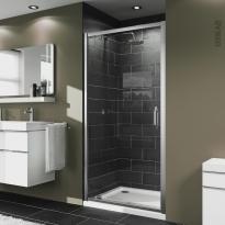 Porte de douche - pivotante HUPPE - 80 cm - Verre transparent - profilés chromés