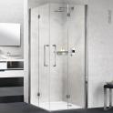 Porte de douche - angle carré pliant NOVELLINI - 90x90 cm - Verre transparent - profilés chromés