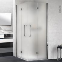 Porte de douche - angle carré pliant NOVELLINI - 80x80 cm - Verre dépoli - profilés chromés