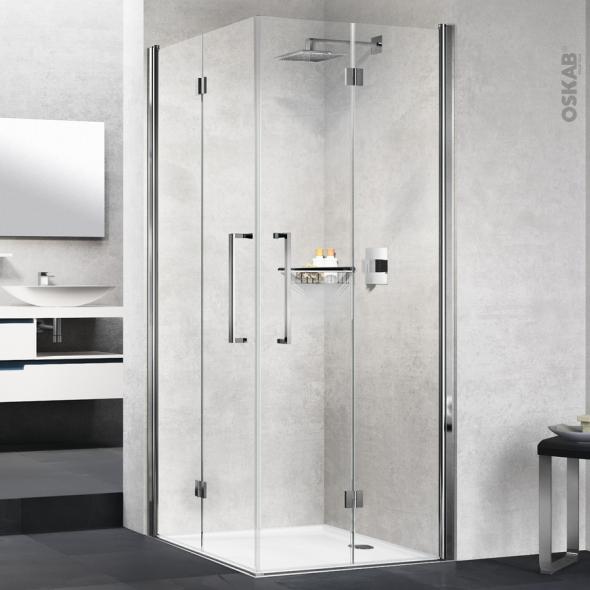 Porte de douche - angle carré pliant NOVELLINI - 80x80 cm - Verre transparent - profilés chromés