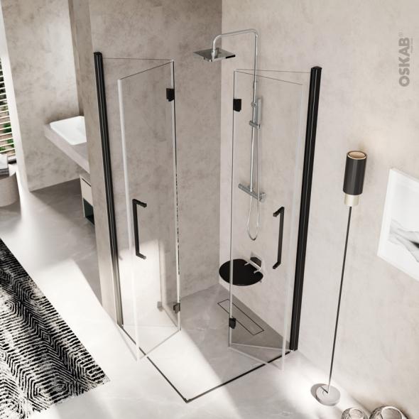 Porte de douche - angle carré pliant NOVELLINI - 80x80 cm - Verre transparent - profilés noirs