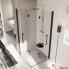 #Porte de douche - angle carré pliant NOVELLINI - 80x80 cm - Verre transparent - profilés noirs