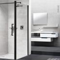 Paroi de douche - fixe latérale NOVELLINI - 80 cm - Verre transparent - profilés noirs