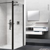 Paroi de douche - fixe latérale NOVELLINI - 70 cm - Verre transparent - profilés noirs