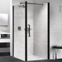 Porte de douche - pivotante NOVELLINI - 90 cm - Verre transparent - profilés noirs