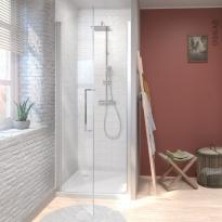 Porte de douche - pivotante NOVELLINI - 90 cm - Verre transparent - profilés chromés