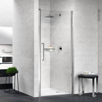 Porte de douche - pivotante NOVELLINI - 80 cm - Verre transparent - profilés chromés