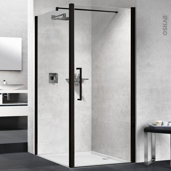 Porte de douche - pivotante NOVELLINI - 80 cm - Verre transparent - profilés noirs