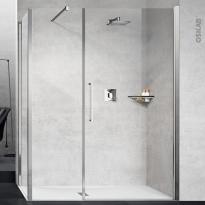 Porte de douche - pivotante NOVELLINI - 120 cm - Verre transparent - profilés chromés