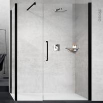 Porte de douche - pivotante NOVELLINI - 120 cm - Verre transparent - profilés noirs