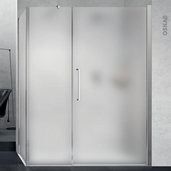 Porte de douche - pivotante NOVELLINI - 100 cm - Verre dépoli - profilés chromés