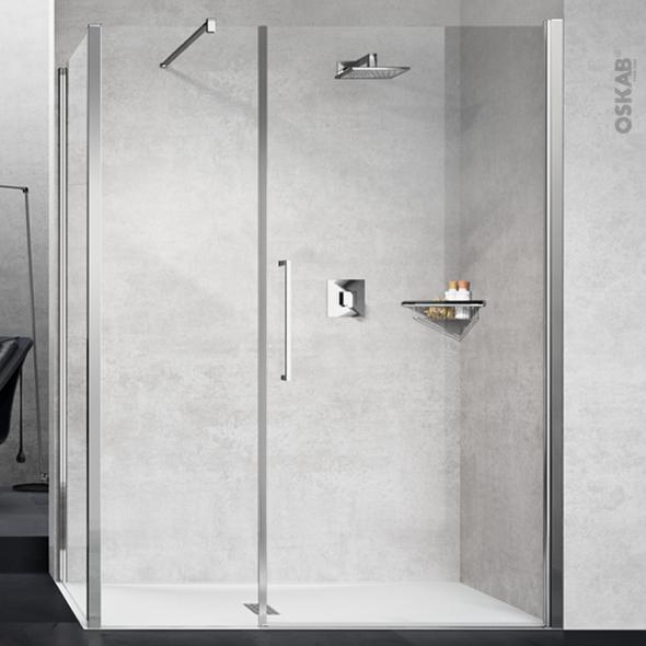 Porte de douche - pivotante NOVELLINI - 100 cm - Verre transparent - profilés chromés
